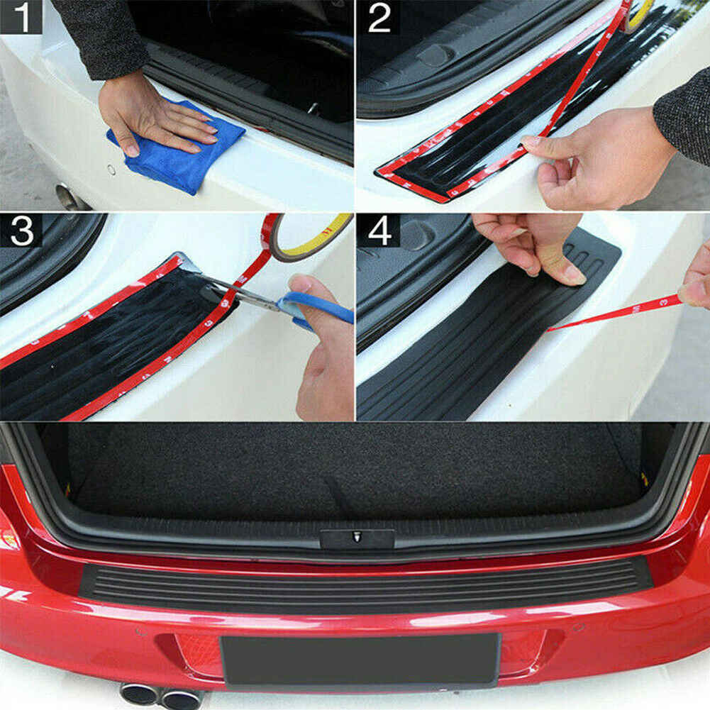 1x Car Rear Bumper Cover Sticker Strip Protector Trunk Sill Scuff Plate Guard Automobiles Exterior Parts Styling Mouldings