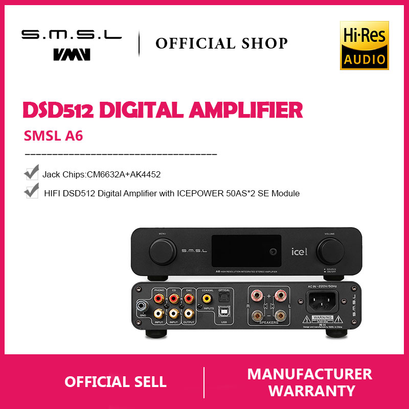 SMSL A6 HIFI Digital Amplifier 50Wx2 DAC Digital 110V/220V Native DSD512 USB/Optical/Coaxial/LP Player/CD Analog Input