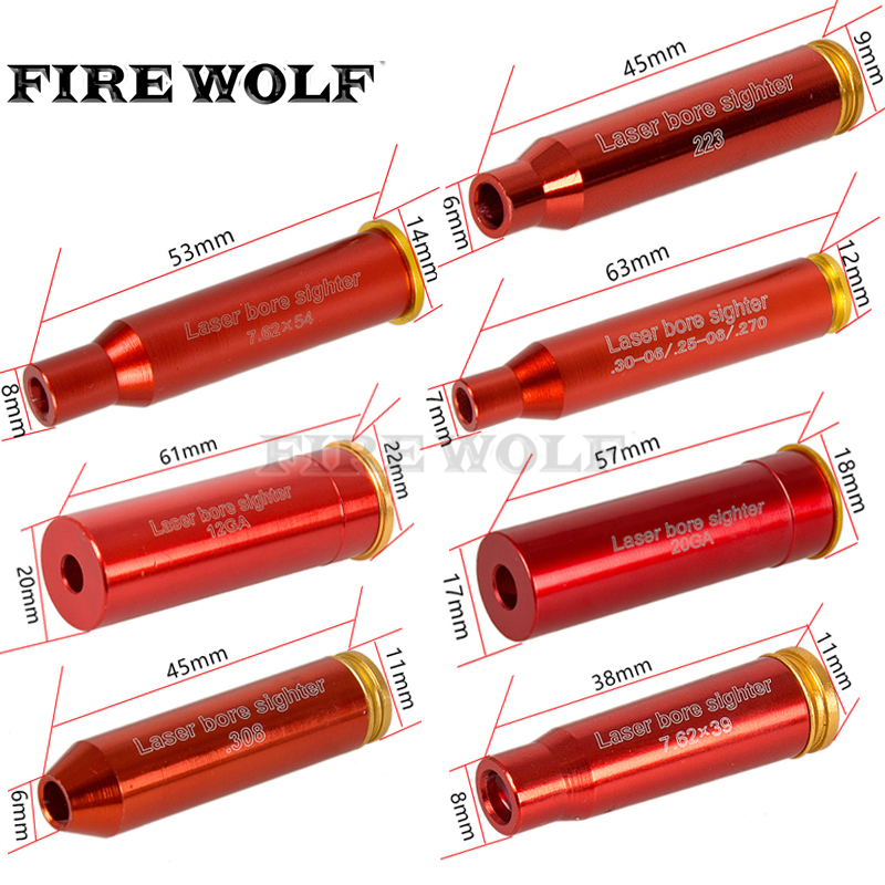 FIRE WOLF Red Hunting Red Laser Boresighter Cal.308 .223 30-06 Cal7.62x39 7.62x54 12ga 20ga Cartridge Tactical Bore Sighter