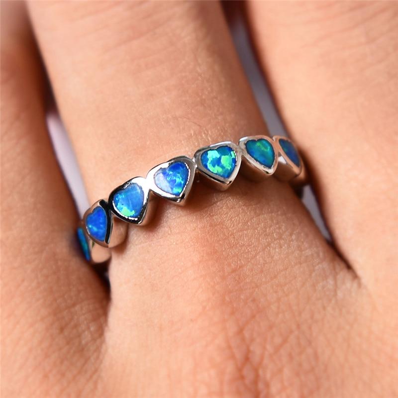 100% Wahr Boho Weibliches Ozean Blau Feuer Opal Herz Ring Mode 925 Sterling Silber Schmuck Vintage Hochzeit Ringe Für Frauen Beste Geschenke Auswahlmaterialien