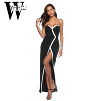 WYHHCJ 2018 Sexy Backless Summer Dress Strapless Front Split Women Dress Bodycon Sleeveless Off Shoulder Maxi