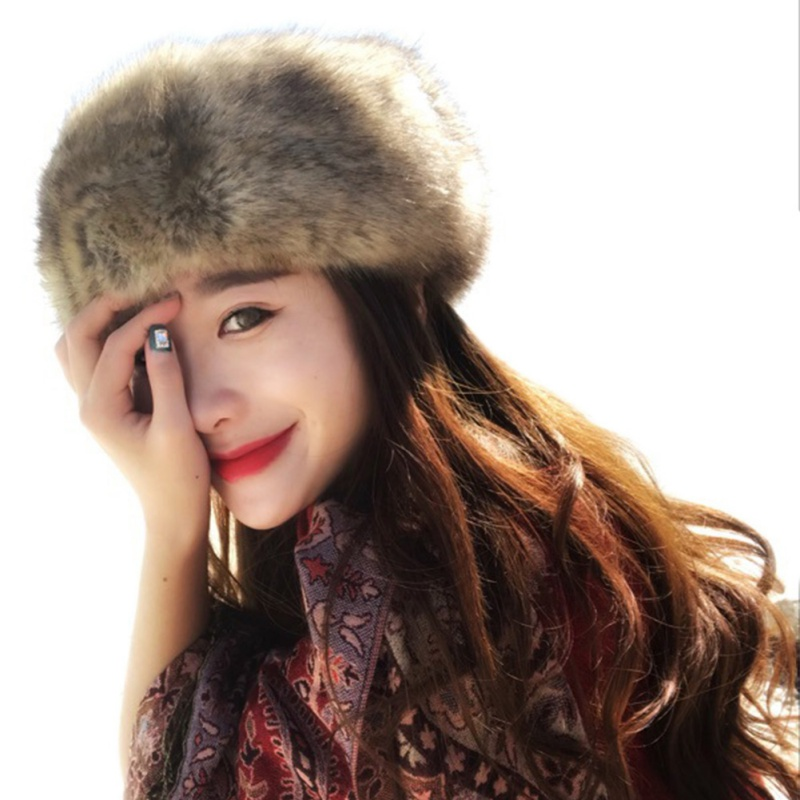 Women Hats Tick Fluffy Fox Fur Hat Lady Russian Headband Winter Earwarmer Ski Hat Female Hats For Autumn