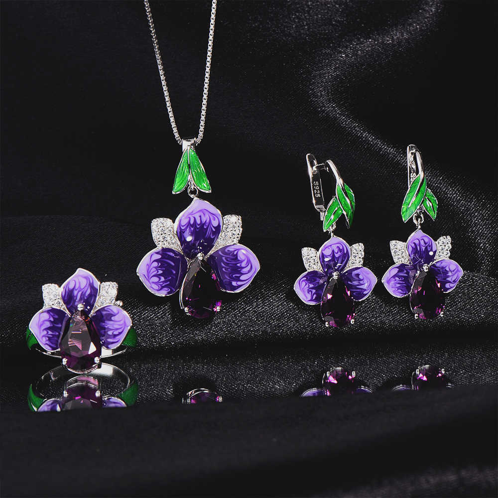 RainMarch Enamel Flower Silver Earring Pendant Ring Jewelry Set For Women 925 Sterling Silver Necklace Pendant Wedding Jewelry