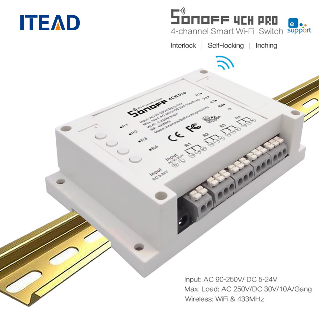 ITEAD Sonoff 4CH Pro 4 Gang 433MHZ Mounting Wireless Control WIFI Smart Switch Home Light Alexa Remote 10A sonoff 4ch channel remote control smart wifi switch home automation module on off wireless timer diy switch din rail mounting