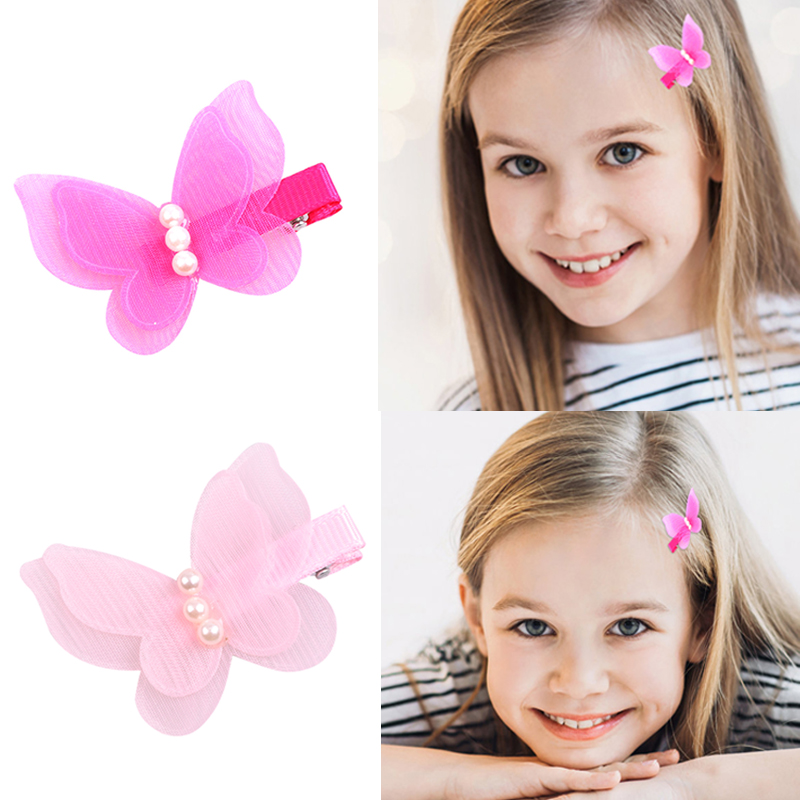 1 Pc Candy Color Bow Butterfly Hair Clips Girls' Hair Grips Kids Hairpin Headwear Hair Fashion Accessories