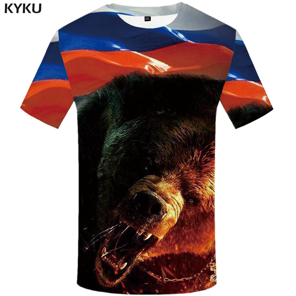 KYKU Brand Bear T Shirt Russia T-shirt Sturdy Tshirt Sexy Male Shirts 3d T-shirt Animal Mens Clothing China Casual Shirt Men
