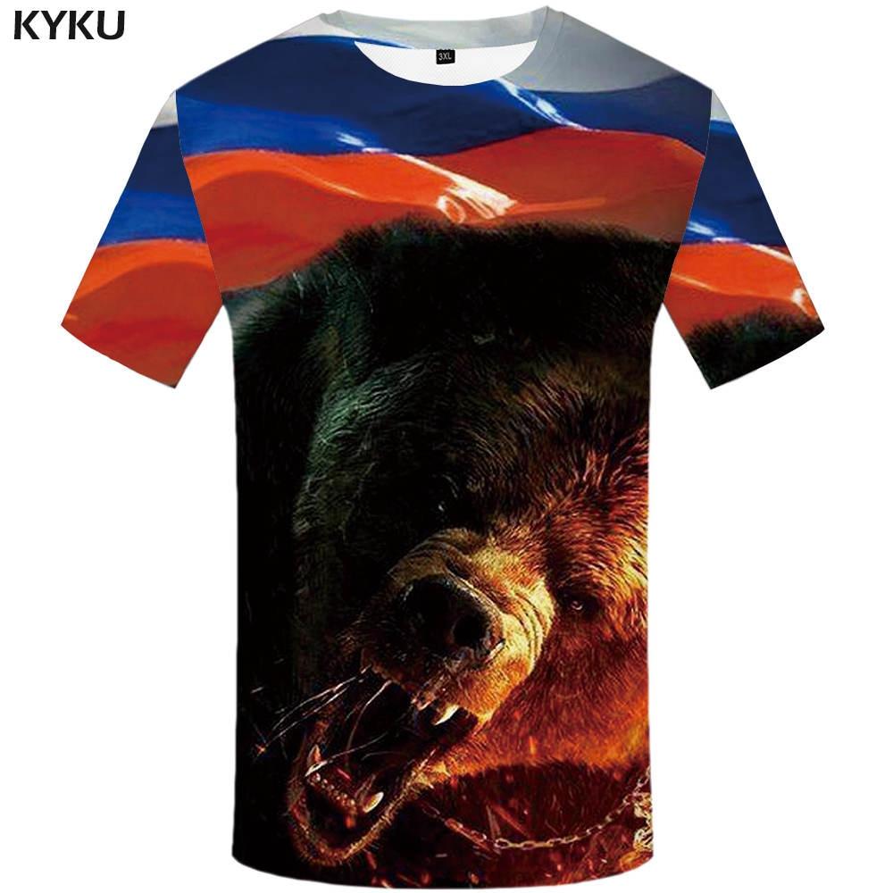 KYKU брендовая футболка с мишкой Россия футболка прочная футболка Sexy мужской рубашки 3d футболка животного Для мужчин s Костюмы Китая Повседневная рубашка для мужчин