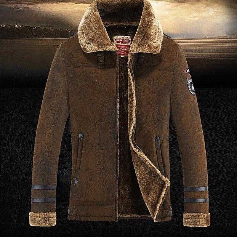 Homens Jaqueta de camurça Casacos de Inverno e Casacos de Lã Espessamento Windbreak Waterproof Quente Pele de Cordeiro Fur Trench Coat Plus Size 3XL