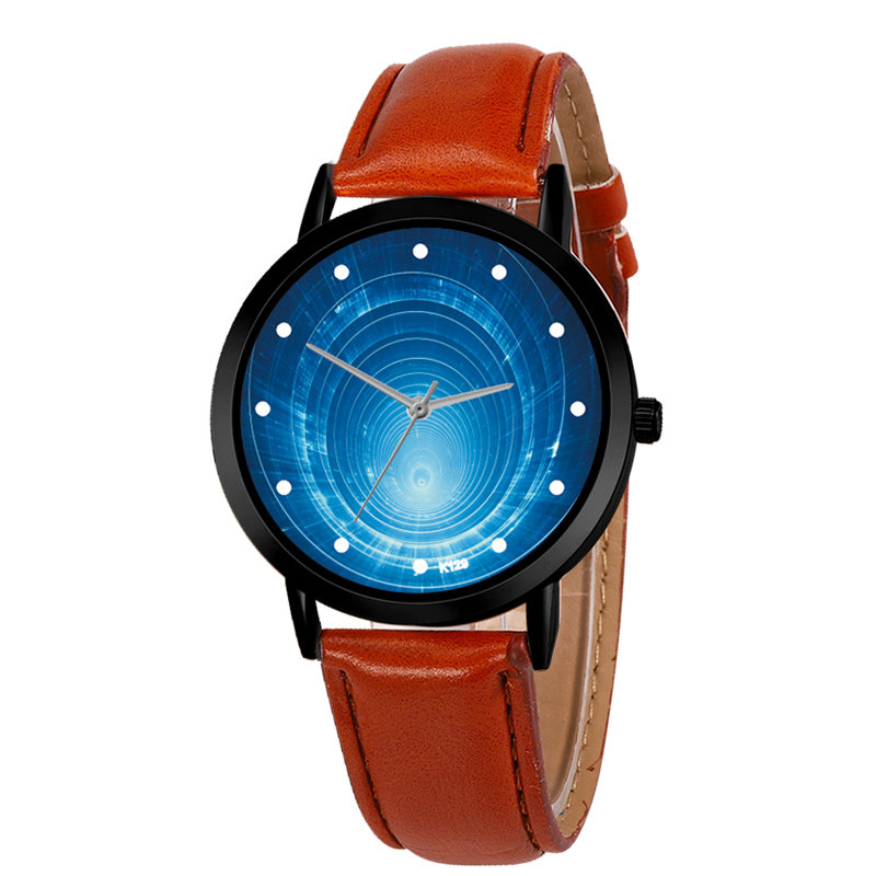 Unique Solar Leather Strap Astronomy Planets Casual Quartz Space System Watch Unisex Classy Creative Analog Watches