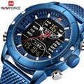 NAVIFORCE Digital Watch Men Top Brand Luxury Stainless Steel Mesh Mens Wristwatch Army Military Waterproof Quartz Sports Watches