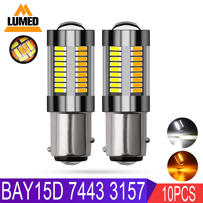 10x 1157 BAY15D P21 5W T20 7443 Led Light White Amber 4014 66 SMD Bulb Car