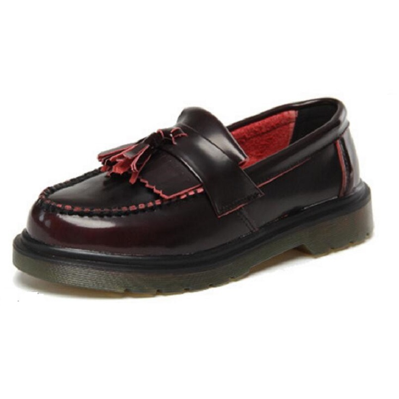 Plus Size 34-44 Women Oxfords Flats Platform Shoes Split Leather Tassel Slip On Black Red White Shoes Spring Autumn Loafers