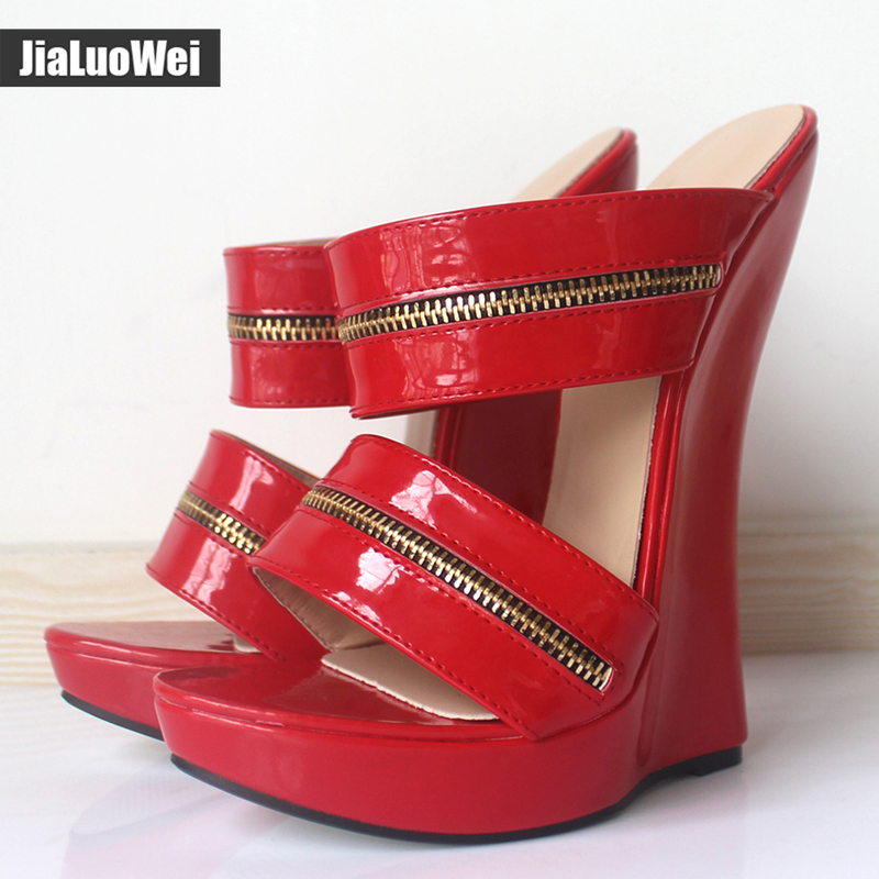 Women Sexy High Wedges Heels Shoes Platform Patent Leather Ankle Strap Sandals Fashion Summer Pumps Ladies Shoes Pluse szie xiaying smile summer woman sandals shoes platform women pumps buckle strap wedges heels fashion casual flock rubber women shoes