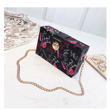 Girls box bag 2018 new tide ins super fire shoulder chic chain wild casual Messenger