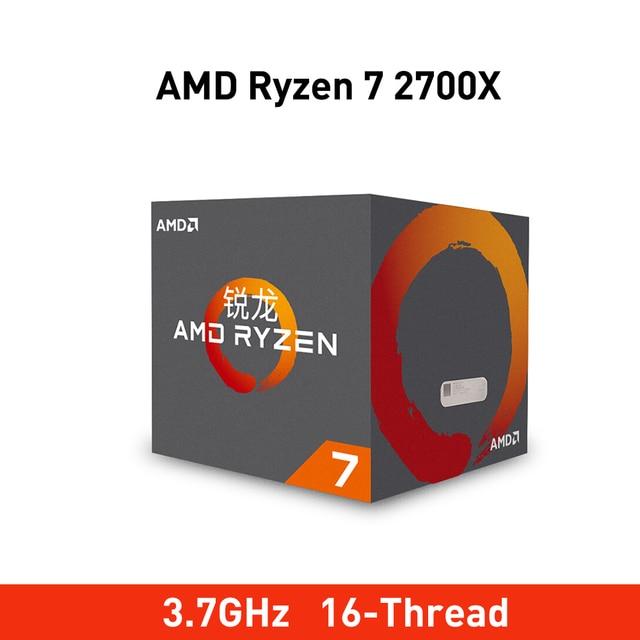 New amd ryzen 7 2700X cpu 3.7GHz Eight Core Sixteen Thread 105W TDP processador Socket AM4 Desktop with sealed box radiator fan