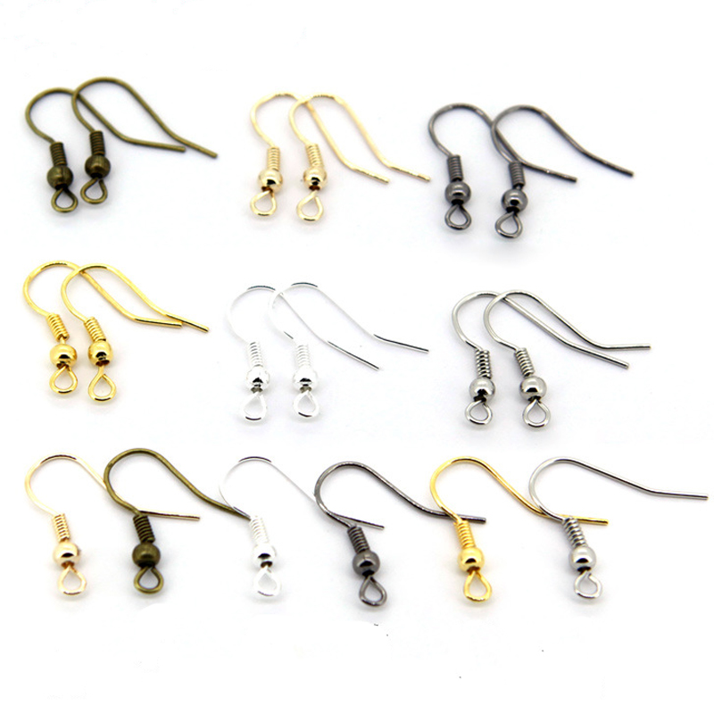 95Pcs Gold Silver Bronze Gun Black Plated Hook Ear Wires Hooks Earrings For DIY jewelry  Findings components Accessories