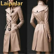 2018 Autumn Women Trench Coat Long Windbreaker Europe America Fashion Laipelar Trend Double-Breasted Slim Long Trench with Belt autumn winter trench coat with belt double breasted long sleeved solid lapel long trench coat laipelar european trench for women