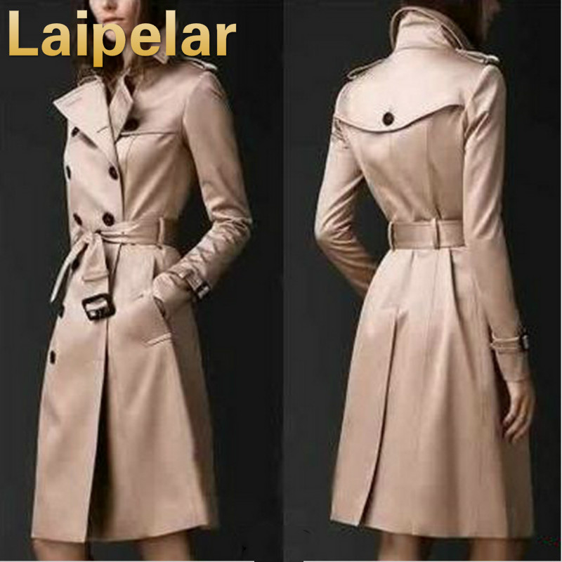 2018 Autumn Women   Trench   Coat Long Windbreaker Europe America Fashion Laipelar Trend Double-Breasted Slim Long   Trench   with Belt