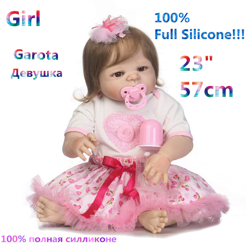 Newborn Girl 100% Full Silicone Reborn Babies Brinquedo Realistic Simulation Soft lovely Reborn Baby Dolls RB16-16H10 christmas gifts in europe and america early education 100% full body silicone doll reborn babies brinquedo lifelike rb16 12h10