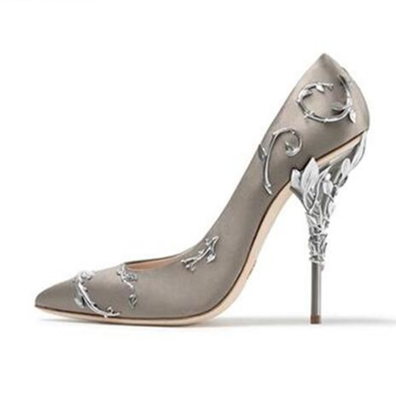 Woman Metal Leaf Decor Satin Silk Pumps Fashion Pointed Toe Metallic Twing Covered High Heels Pumps Spring Elegant Dress Shoes creativesugar elegant pointed toe woman