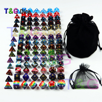 105 Colorful Dice with Black Bag ,T&G Rainbow 15 complete sets of D4 D6 D8 D10 D10% D12 D20 for RPG DND Board Game