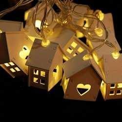 Chiclitсветодио дный светодиодная гирлянда дерево гирлянда с домиками лампа 1,5 светодио дный м 10 LED s Room Decor струнные лампы сад Свадебная