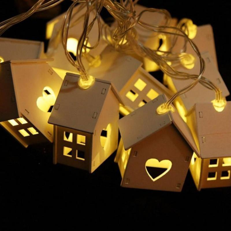 Chiclits LED Garland madera casa cadena lámpara 1,5 m 10 LEDs decoración de la habitación cadena lámparas jardín boda fiesta vacaciones luces de hadas
