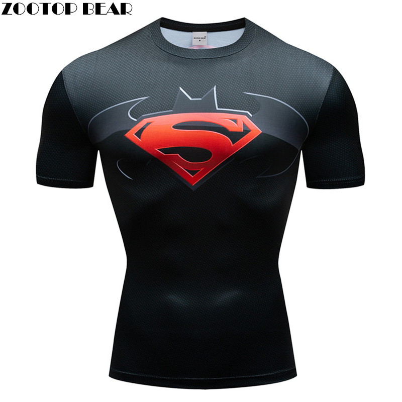 Gym Sports T Shirt Men Short sleeve 3D T-Shirt  America The Superman captain Compression Summer Quick Dry Man Fitness Shirt