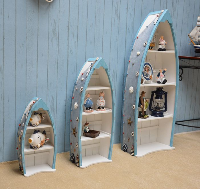 Bon Mediterranean Style Wooden Ornaments Creative Home Decor Rack Cabinet Three  Piece Hull Boat Cabinet Bookcase Display Cabinet In Furniture Accessories  From ...