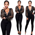 2017 Summer Sexy Deep V neck Sequined Tassels jumpsuits women black solid plus size bodysuit mesh see through overalls SMLXL