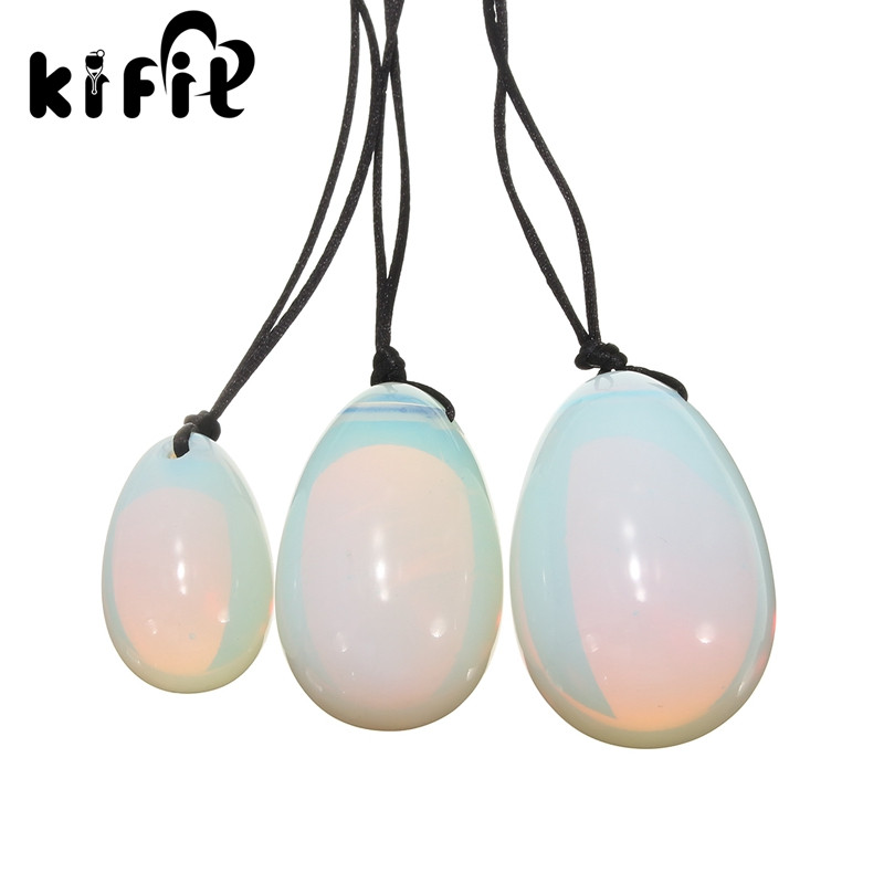 KIFIT 3PCS / Set White Opalite Yoni Eggs Jade Egg With Lords Gemstone - Առողջապահություն