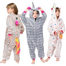 Купить с кэшбэком Kugurumi Unicorn Pajamas for Boys Girls Onesies Flannel Kids Sleepwear Cartoon Children's Pijamas for Baby 3 4 6 8 10 Years