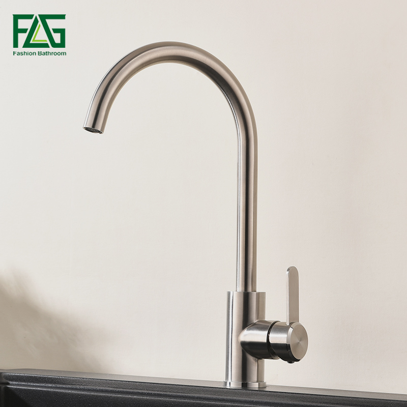FLG 304 Stainless Steel Kitchen Faucet Single Handle Brushed Nickel Sink Tap 360 Swivel Kitchen Mixer AEG980-33N xoxohigh quality total 304 stainless steel no lead kitchen sink faucet sink tap 360 swivel mixer kitchen faucet 83026