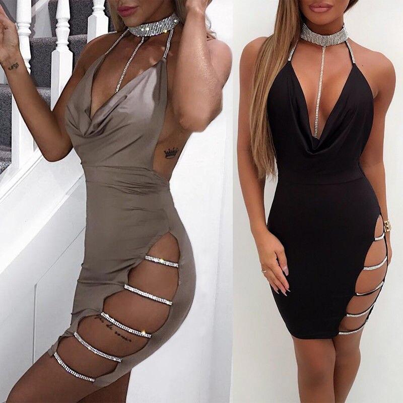 Пикантные Для женщин мини-платье с глубоким v-образным вырезом, без рукавов с низким вырезом на спине блестящие с лямкой на шее Hollow Вечеринка...