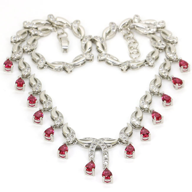 SheCrown Charming Pink Raspberry Rhodolite Garnet Ladies Party 925 Silver Necklace 18 18 5in 30x20mm
