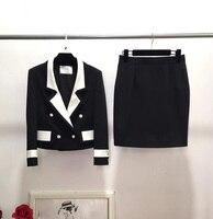 amazing women's suit with a skirt 2 piece set elegant office unifo plus size blazer jacket with skirt 5XL 6XL mantelpakje vrouwe