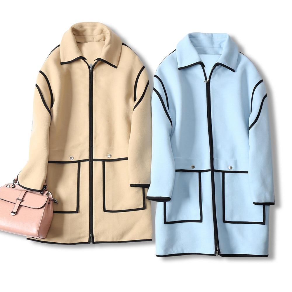 Multi Rayé Femmes Qualité Mode Laine Col S36 Zipper m38 l40 façon Pardessus Patchwork De Haute Mélange zw4xIzv