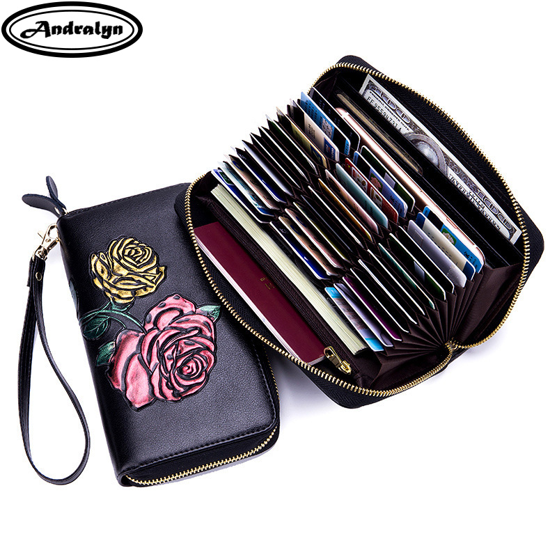 Andralyn High Quality Leather Women Embossing Rose Wrist Rfid Wallets High Capacity Lady Phone Clutch Wallet with 36 Card Slot