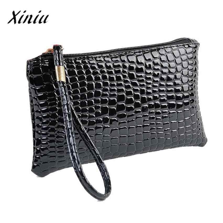 USPS brandhandbags XINIU Novo Jacaré Moda sorte mulheres carteiras de couro PU mulheres sacos de embreagem 2017 sac femme de marque