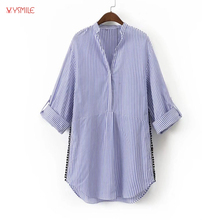 YSMILE Y Women Long And Loose Cotton Shirt Half Sleeve V Neck White Blue Striped Tops Blouse For Autumn Spring HY07131
