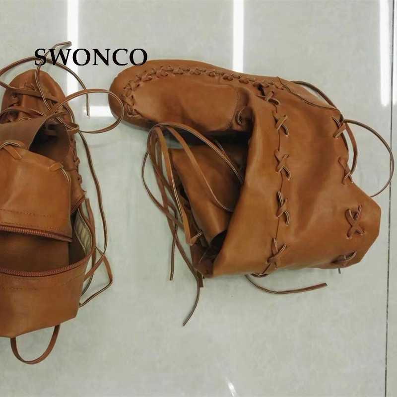 SWONCO kadın Yüksek Çizmeler 2018 Ilkbahar Sonbahar PU Deri Moda Püskül Bayanlar Uyluk Yüksek Çizme Kadın Botları Uzun Çizme kadın Ayakkabı