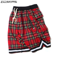 High Street Mens Scottish Plaid Shorts Hip Hop Tartan Checkered Pattern Casual Shorts Elastic Waist Bottom Stripe Bermuda Shorts