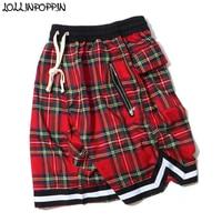 High Street Mens Scottish Plaid Shorts Hip Hop Tartan Checkered Pattern Casual Shorts Elastic Waist Bottom Stripe Bermuda Shorts