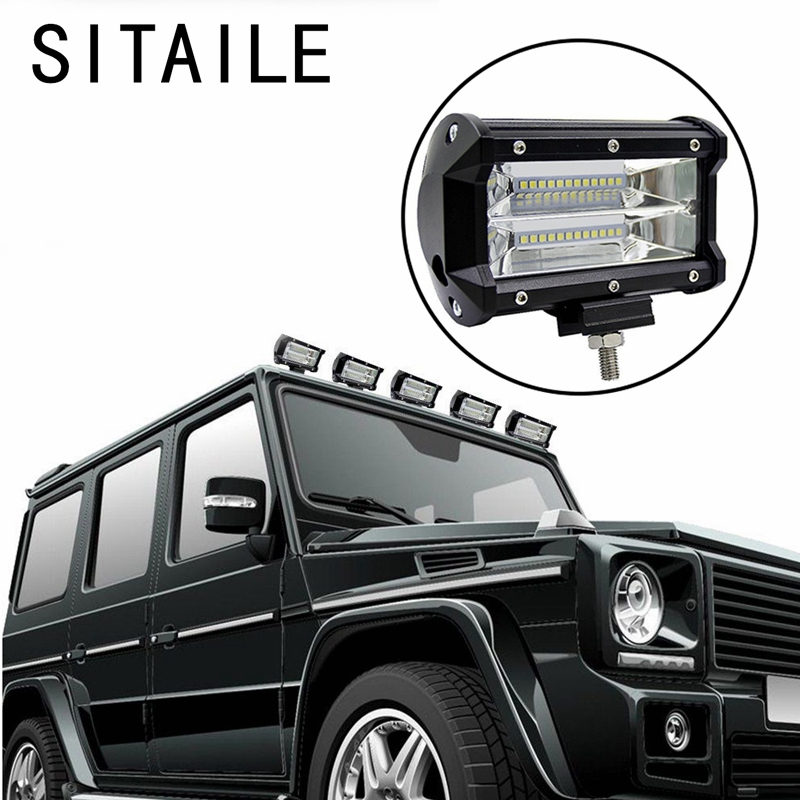 SITAILE 5 inch 72W Car Day Running Light Led Work Light Bar Offroad Foglights For Boats ATV UTV SUV Jeep Truck Led Auto Lamp