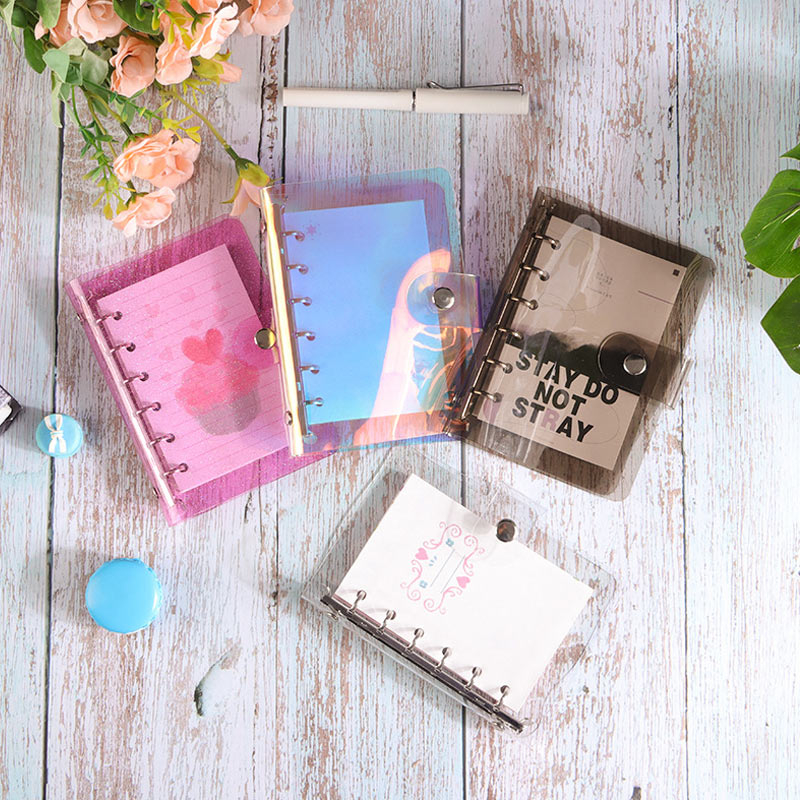 Yiwi A5 A6 A7 PVC Rainbow Laser Transparent Notebook Diary Cover Glitter Loose Leaf Note Book Planner Clip Office Supplies