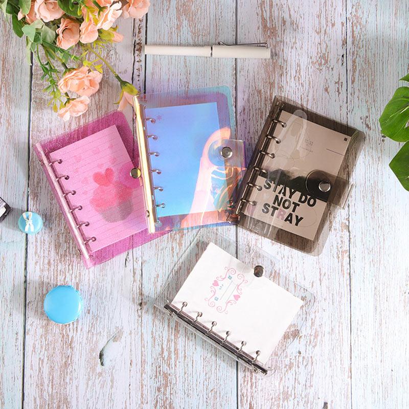 Прозрачный блокнот Yiwi A5/A6/A7 из ПВХ с радужным лазером, Обложка с блестками для дневника, свободного кроя, зажим для блокнота, планировщика, оф...