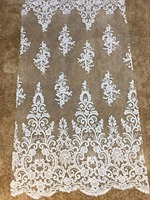 free shipping whole piece beaded lace with appliques and long trim latest wedding dresses fabrics 5 yards frence lace