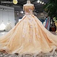 LS32104 fora do ombro mangas curtas cor de champanhe formal calça bola saia vestido-longo laço até vestido de noiva andar de comprimento