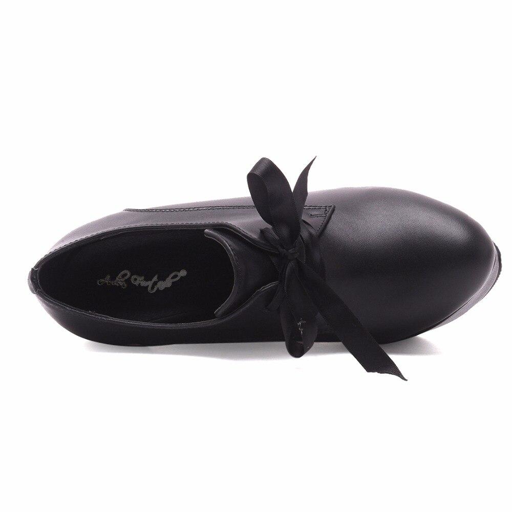 Plate Fashion Pour Black Coins Arden forme Cuir Printemps Casual Talons Pompes Chaussures Véritable Femme Dentelle En Haute up Automne Party Et Furtado 1aw1Hqv