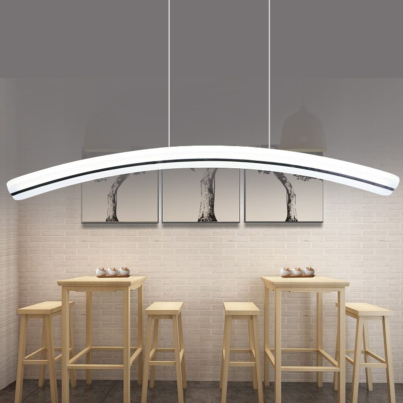 L95cm Modern Suspended Pendant For Restaurant Dining Room Decorative Hanging Lamp Fixture LED Acrylic Light Luminaire 37W WPL143 40cm acrylic round hanging modern led pendant light lamp for dining living room lighting lustres de sala teto